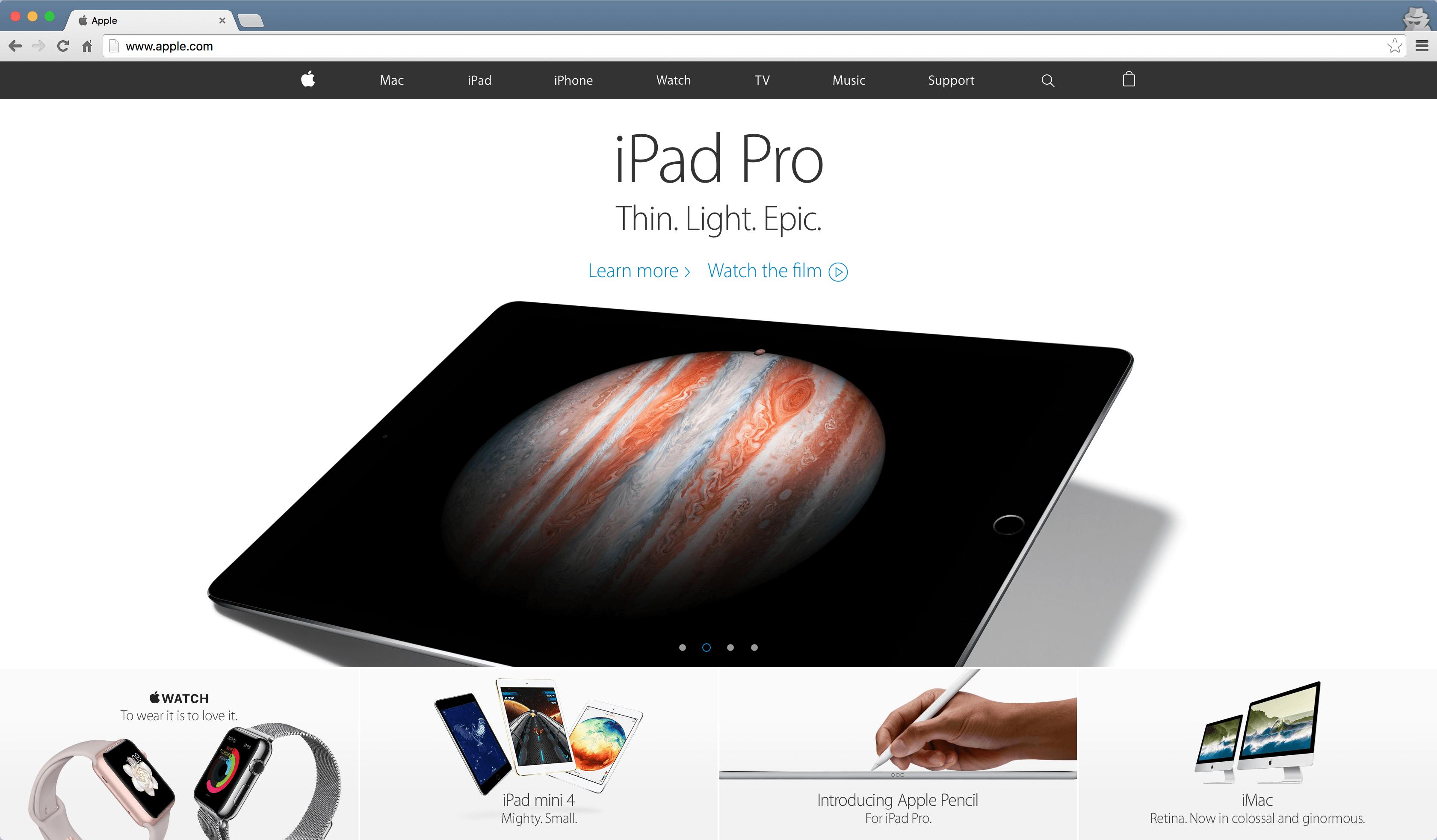 Appleの公式サイトはフラットデザインでデザインされている。